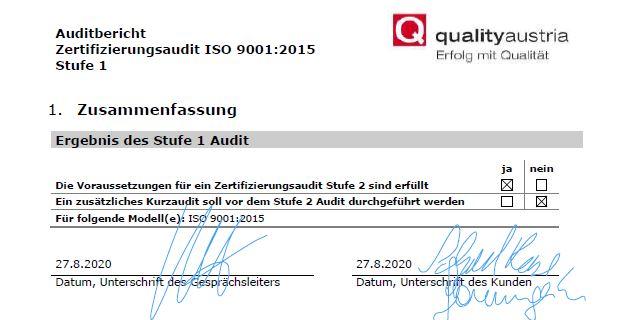 ***AUDIT 1. STUFE QM ISO9001:2015***